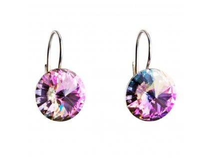 Stříbrné náušnice visací s krystaly Swarovski fialové kulaté 31106.5