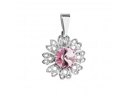 Přívěsek bižuterie se Swarovski krystaly růžová kytička 54032.3 light rose