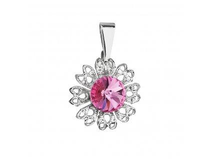 Přívěsek bižuterie se Swarovski krystaly růžová kytička 54032.3 rose