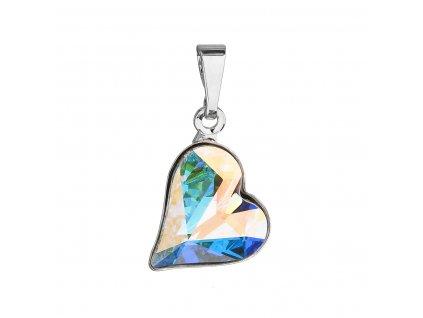 Přívěsek bižuterie se Swarovski krystaly AB efekt srdce 54033.2