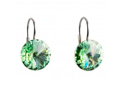 Stříbrné náušnice visací s krystaly Swarovski zelené kulaté 31106.3
