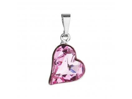 Přívěsek bižuterie se Swarovski krystaly růžové srdce 54033.3