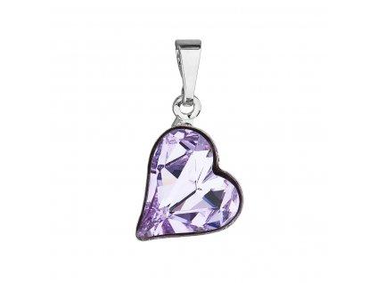 Přívěsek bižuterie se Swarovski krystaly fialové srdce 54033.3
