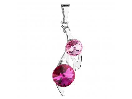 Přívěsek bižuterie se Swarovski krystaly růžový podlouhlý 54038.3
