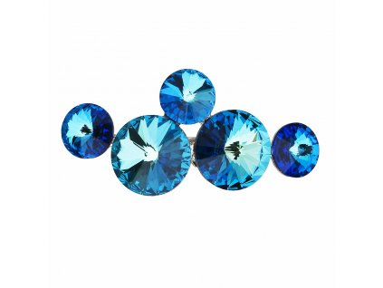 Brož bižuterie se Swarovski krystaly modrá kulatá 58001.5