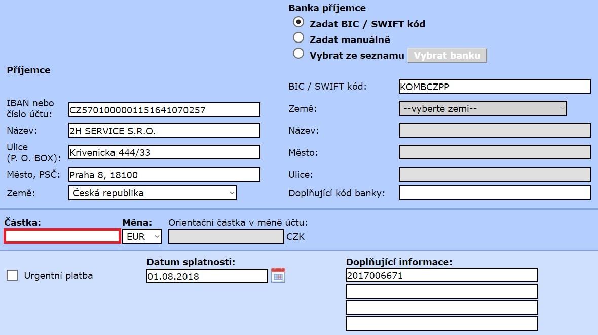 vzor platobneho prikazu Slovensko