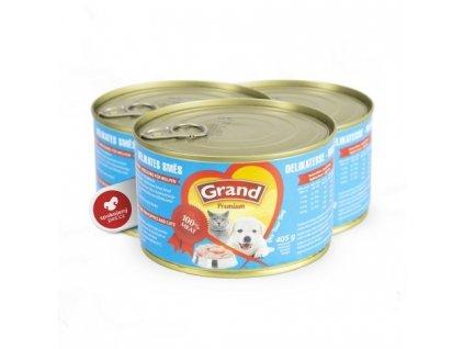 Grand konzerva pro štěňata a kočky Delikates 405 g
