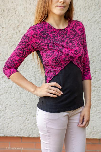 Kojicí tričko s bolérkem, růžová krajka