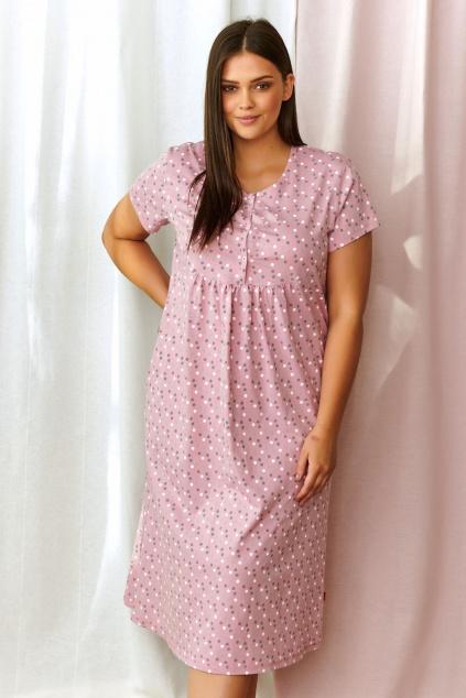 dluga rozowa koszula nocna w groszki plus size