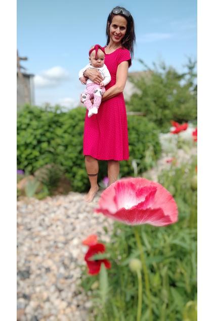 Bambusové kojicí šaty Jsem máma, červené s puntíky