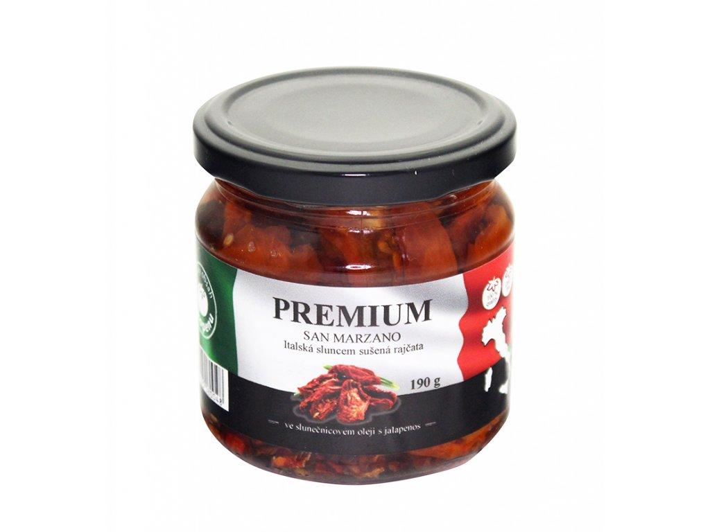 Sušená rajčata premium ve sluneč. oleji s jalapenos 190g San Marzano