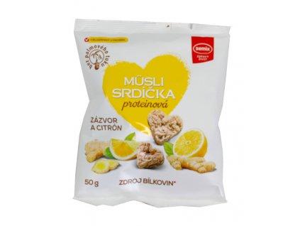Proteinová srdíčka zázvor, citron 50g Semix