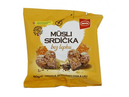 Musli srdíčka BEZ LEPKU - med a chia 50g Semix