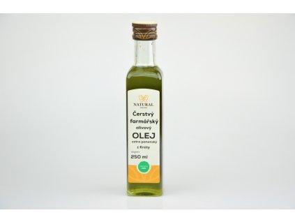 Čerstvý farmářský olivový olej extra panenský z Kréty (sklizeň oliv 31.10.2019) Natural 250ml
