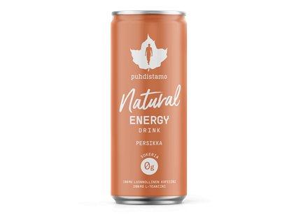 Natural Energy Drink 330ml peach (Energetický nápoj -  broskev)