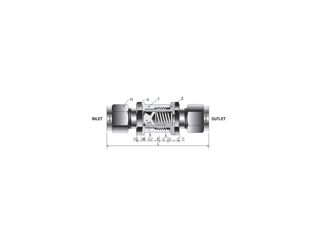 Zpětný ventil DK-LOK řady V33 otevírací tlak 0,02 bar