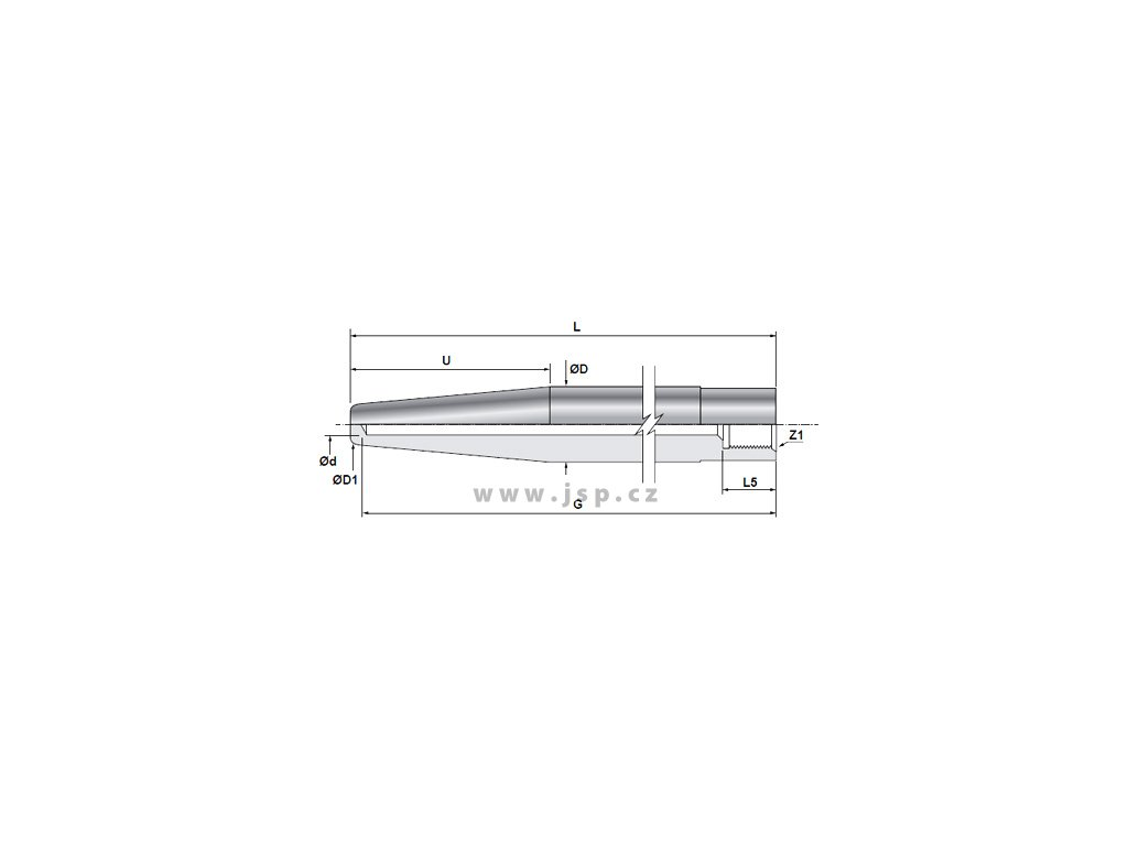 """Teploměrová jímka kuželová k zavaření s vnitřním vývrtem 9 mm / závit G1/2"""" / L 170 mm / 1.0425"""