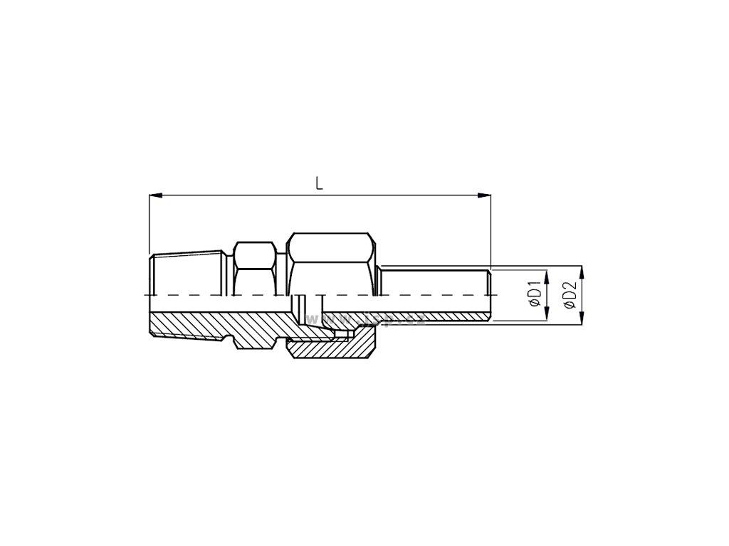 Šroubení přechodové s navařovací kuželkou a převlečnou maticí