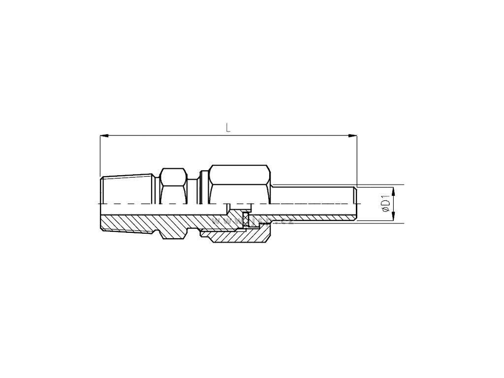 Šroubení přechodové manometrové s navařovací vsuvkou a přesuvnou maticí
