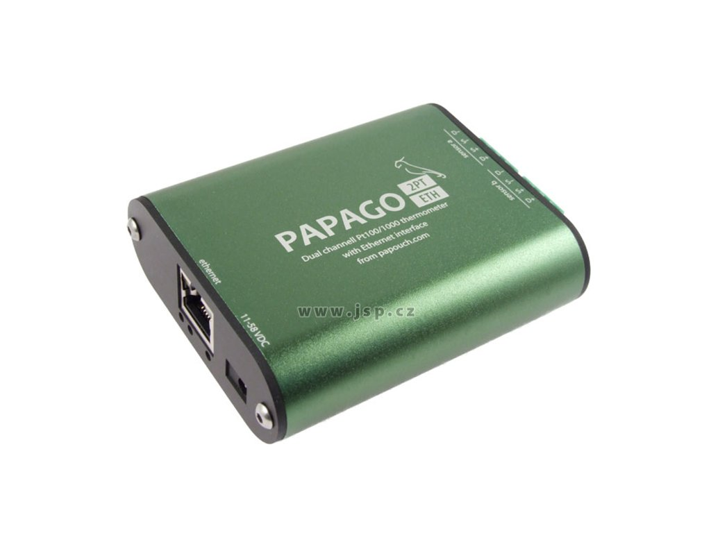 Papago 2PT ETH – Ethernetový převodník pro 2 snímače Pt100/1000