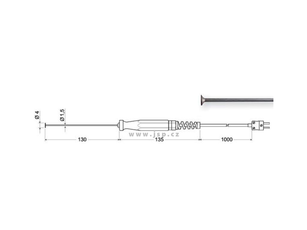 Greisinger GOF 500 Povrchová sonda s termočlánkem K s pevnou měděnou ploškou pro rovné povrchy