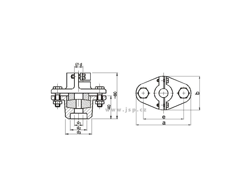 Upevňovací přesuvná příruba pro tyčové snímače 14 mm