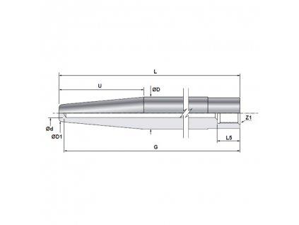 Teploměrová jímka kuželová k zavaření s vnitřním vývrtem 6 mm / závit M20x1,5 / L 200 mm / 1.7380