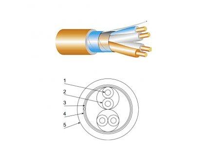 Slaboproudý kabel, stíněný, oheň nešířící, bezhalogenový, typ JC5XFE-R 1x2x0,75