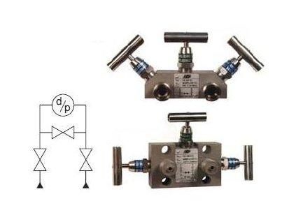 VS 300 Třícestná ventilová souprava s roztečí tlakových vstupů 54 mm (sada)
