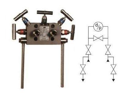VS 500 Pěticestná ventilová souprava s roztečí tlakových vstupů 54 mm (sada)
