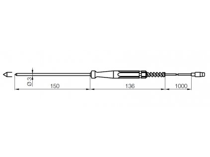 Kobold HND-TF05 Zapichovací sonda Pt100 pro měření teploty měkkých a plastických médií