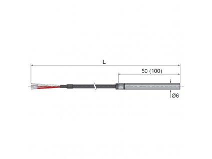 T1031 Odporové snímače teploty kabelové pro trvalé ponoření do agresivní kapaliny