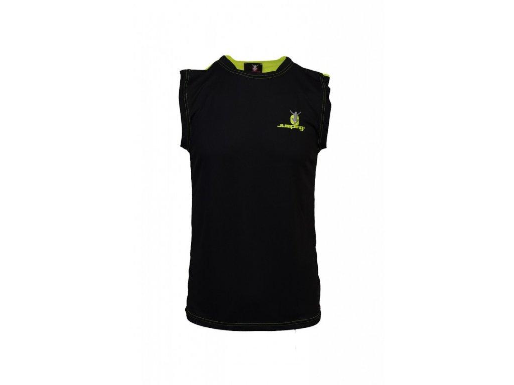 Jumping Pánské funkční triko bez rukávů černé/žlutá záda (Velikost S)