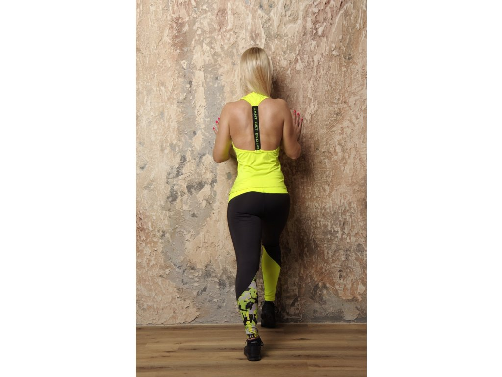 Gelbes Jumping Damen-Tanktop mit ausgeschnittenem Rücken