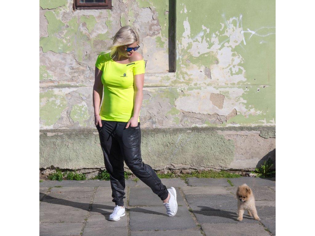 Gelbes schulterfreies Damen-T-Shirt CORSICA