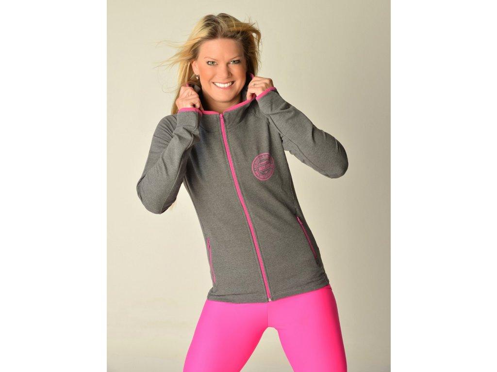 Dunkelgraues Sweatshirt mit rosa Details und Kapuze