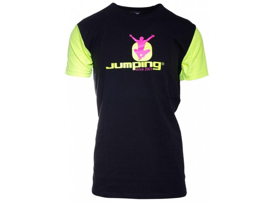 Schwarzes T-Shirt mit langen Ärmeln in gelber Farbe