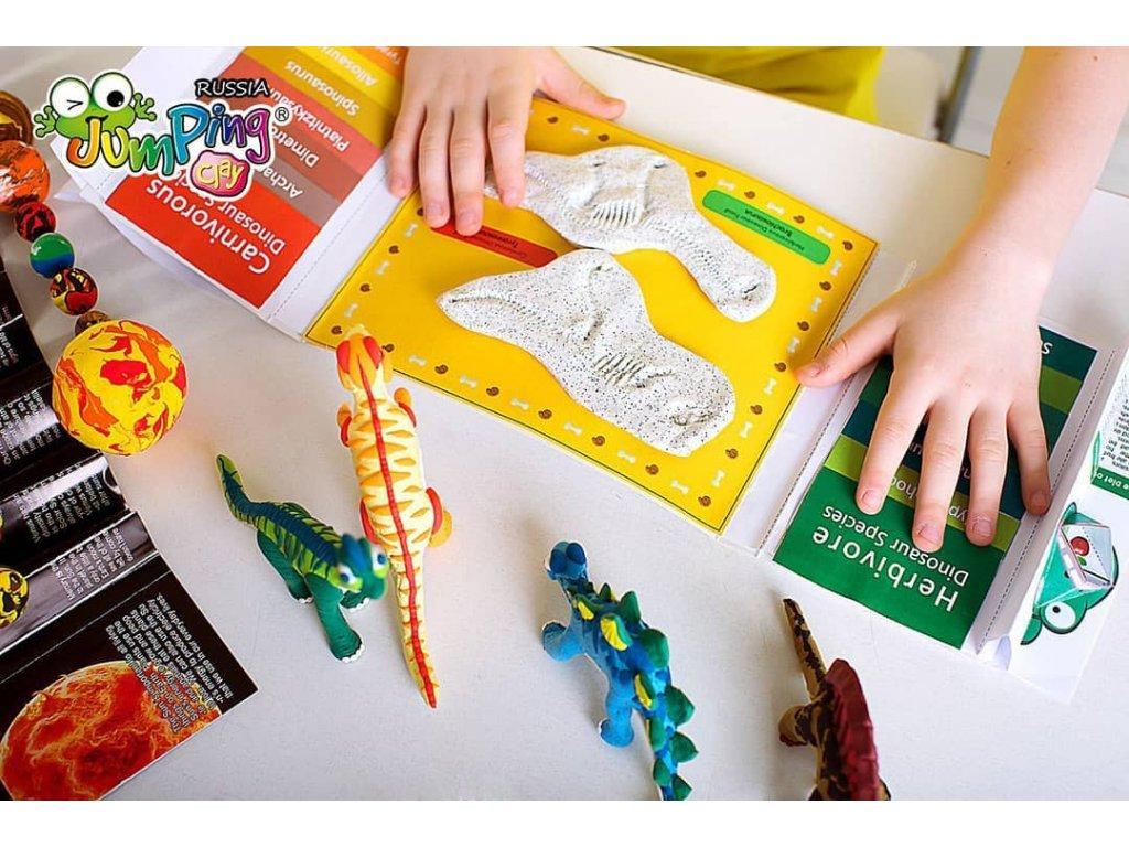 Dinosauří fosilie: Tvořivě vzdělávací sada s modelínou JumpingClay (v angličtině)