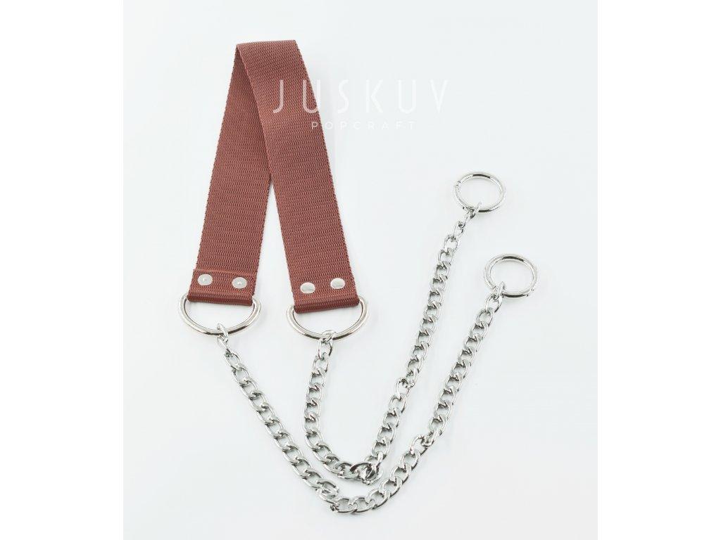 ramenní popruh na tašku s řetězem - hnědý