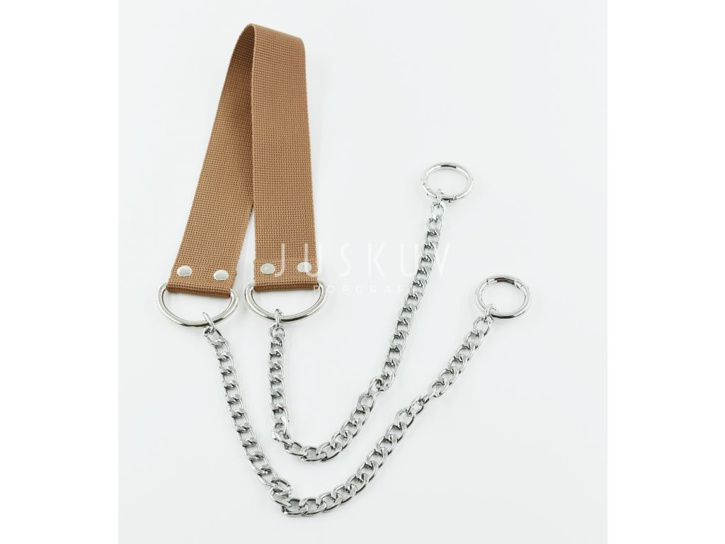 ramenní popruh na tašku s řetězem - světle hnědý