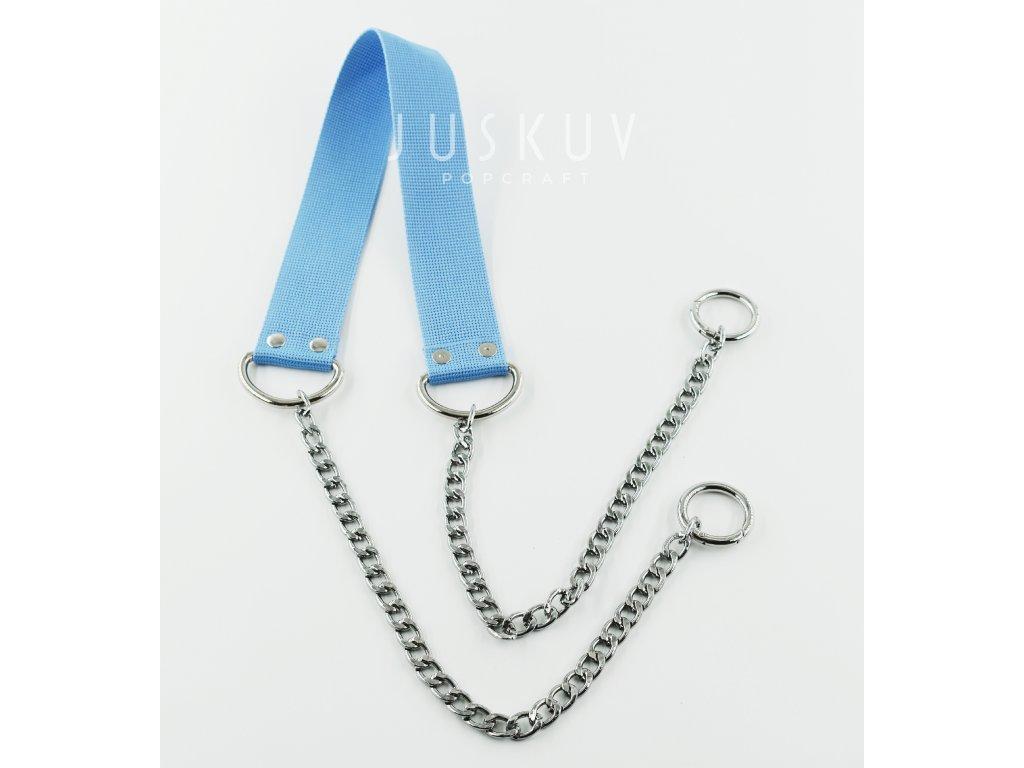 ramenní popruh na tašku s řetězem - světle modrý