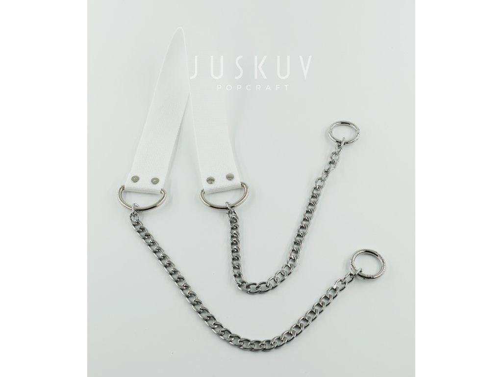 ramenní popruh na tašku s řetězem - bílý