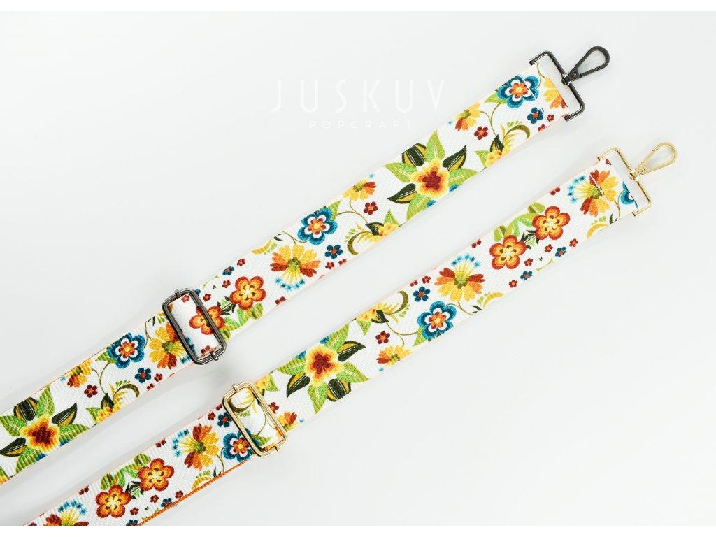 ramenní popruh na tašku šíře 5 cm - květiny