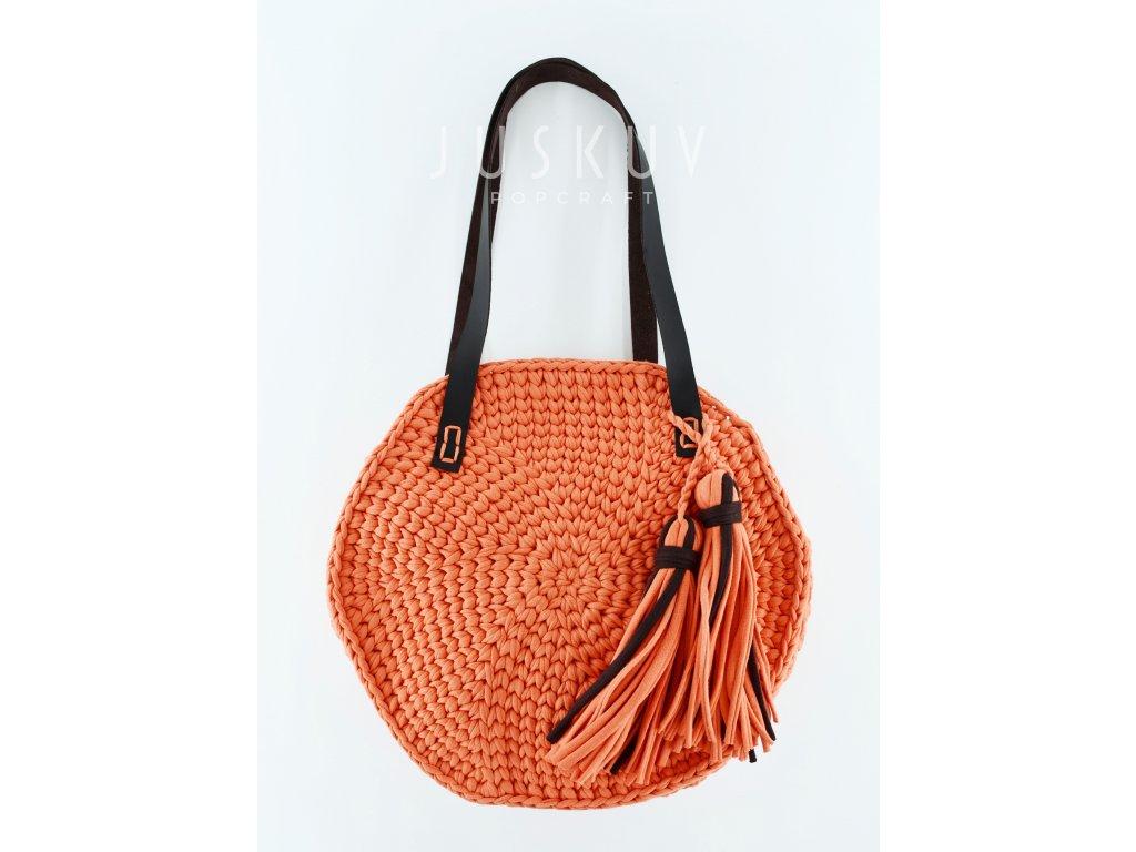 Ručně háčkovaná kulatá plážová taška - oranžová