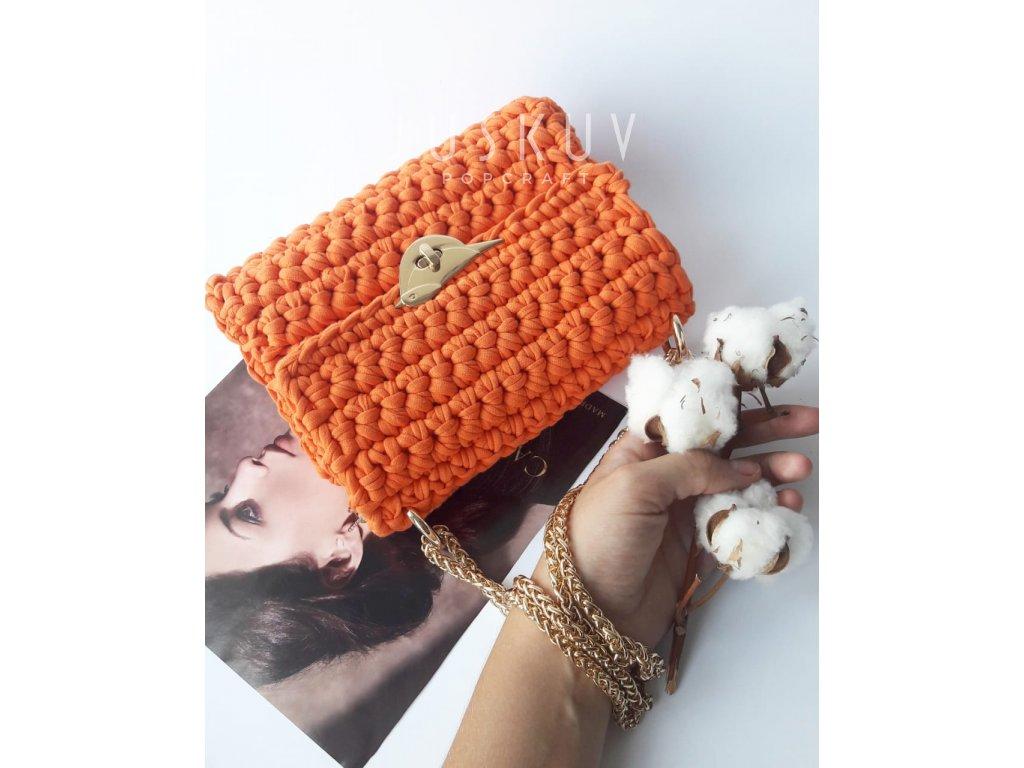 Ručně háčkovaná kabelka - Oranžová