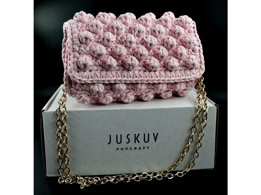 Ručně háčkovaná kabelka - růžová