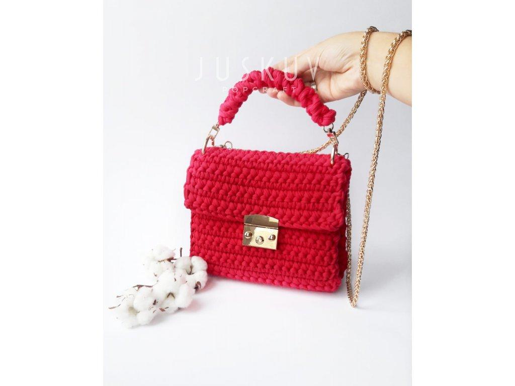 Ručně háčkovaná kabelka - růžová fuchsie