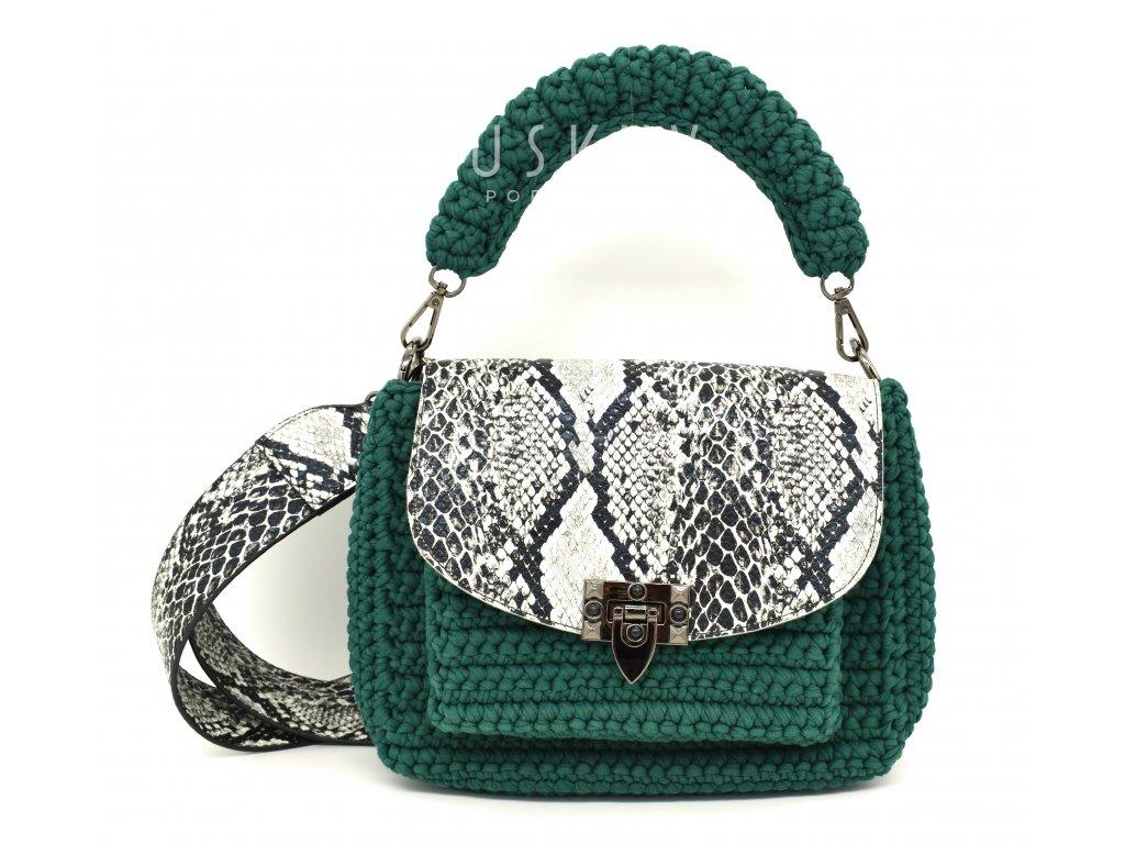 Ručně háčkovaná kabelka zelená- hadí kůže
