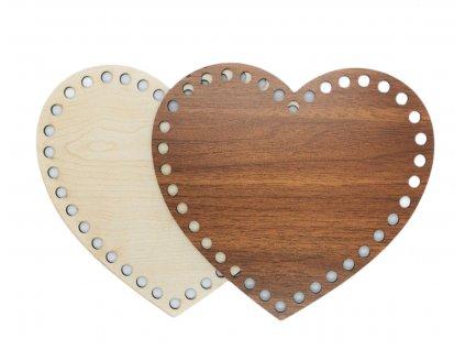 Dřevěné víko, dno - srdce 20,5 cm x 17 cm