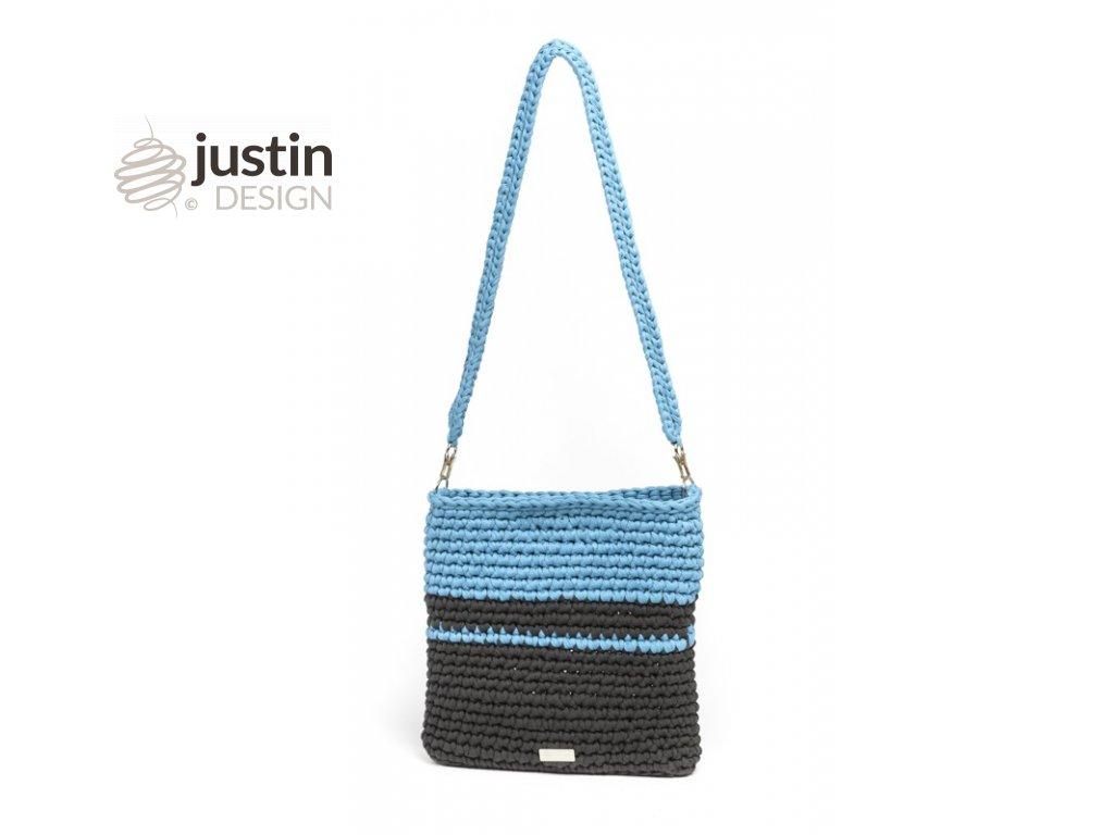2c3eff8644 Háčkovaná crossbody kabelka Viktorie modrá se šedou l Justin Design